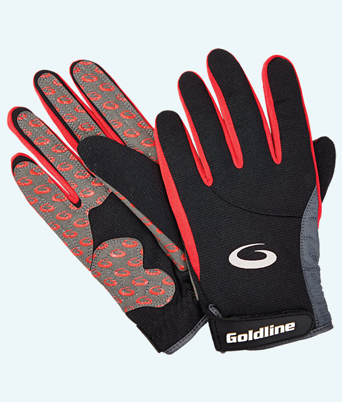 Women's Black with Red Precision Curling Gloves