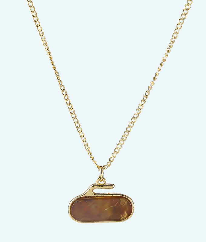 Amber Stone Curling Rock Necklace - In 2D