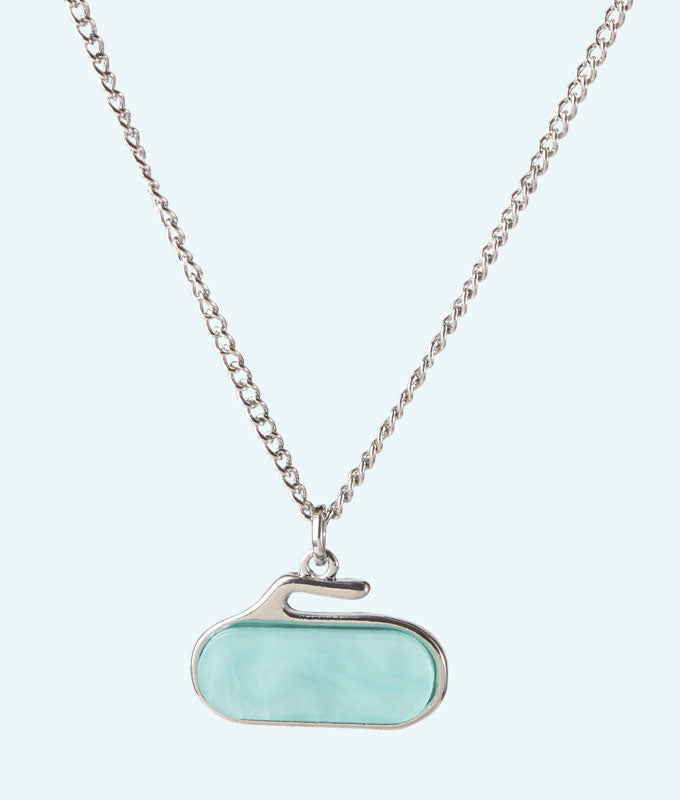 Turquoise Stone Curling Rock Necklace - In 2D