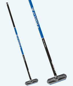 PYRO Flat Shaft Black & Blue Carbon Fiber Broom