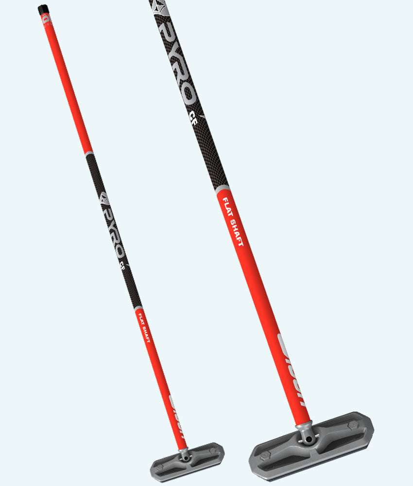 PYRO Flat Shaft Red & Black Carbon Fiber Broom
