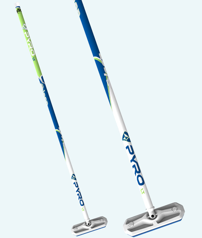 PYRO Flat Shaft Fiberlite Lime/Blue Broom