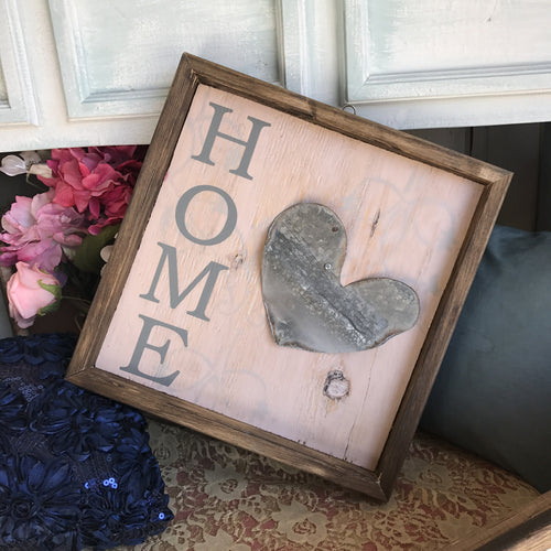 Home with Metal Heart - Framed Box