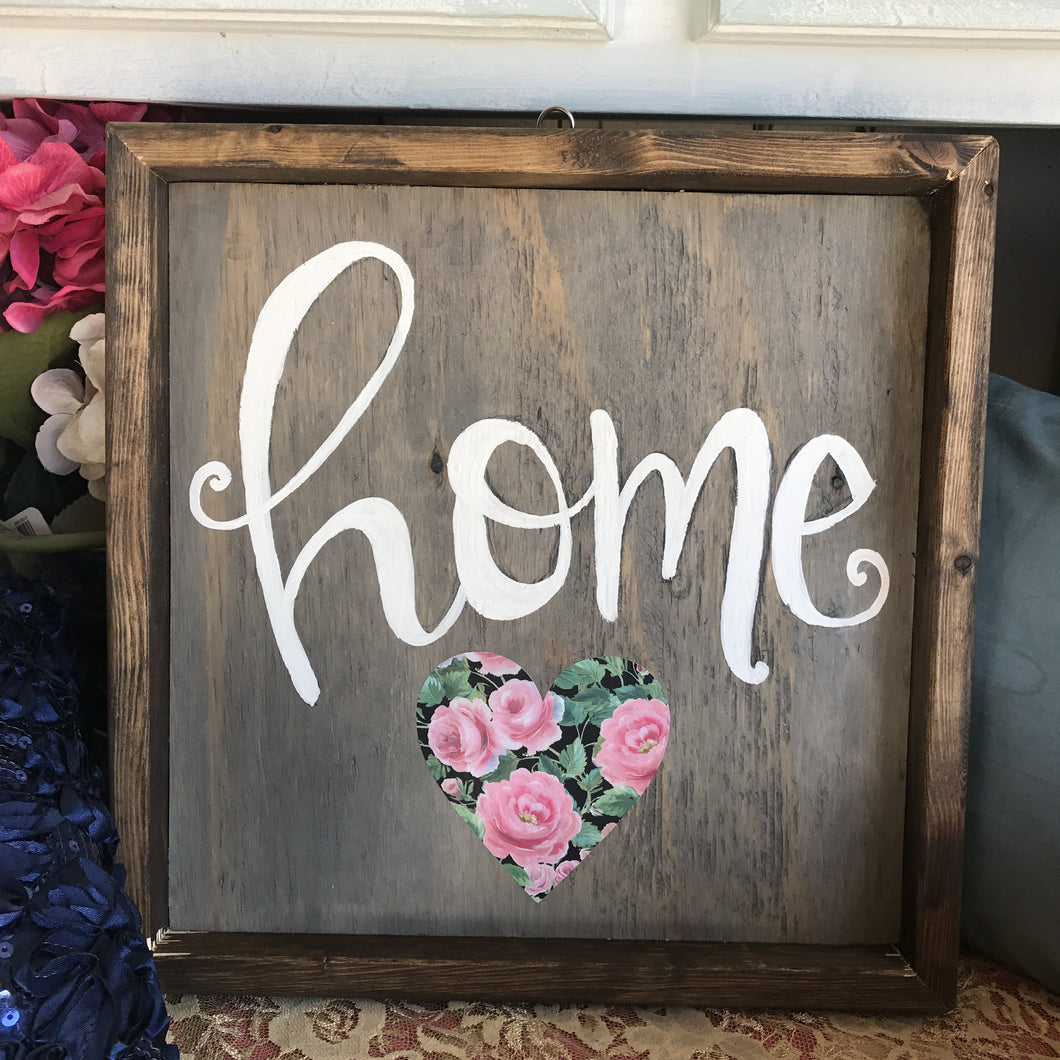 Home with Floral Heart - Framed Box