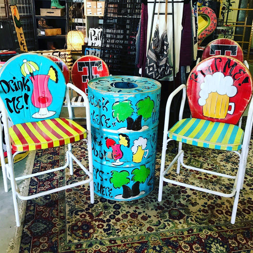 Red/Turquoise/Key Lime - Party Themed Hand Painted Metal Chair