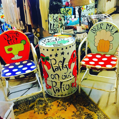 Retro/Polka Dots - Party Themed Hand Painted Metal Chair