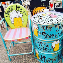Key Lime/Pink/Turquoise - Party Themed Hand Painted Metal Chair