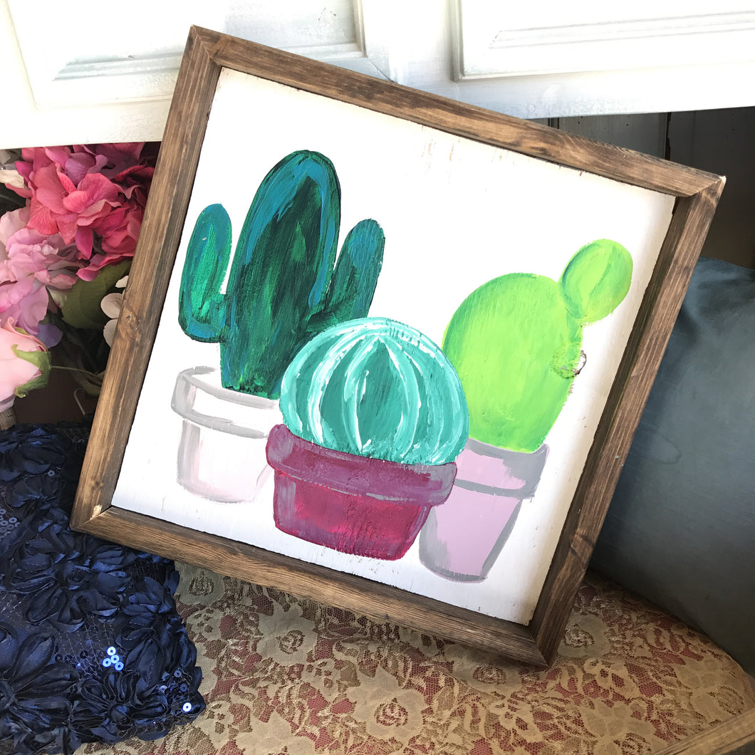 Cute Cactus - Framed Box