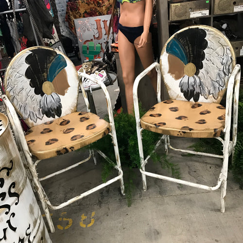 Fancy Chief Leopard Print Bar Height Metal Chair
