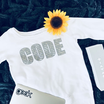 Code wide neck sweatshirt