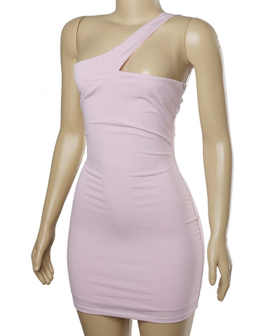 In My Feelings One Shoulder  Dress - Light Pink