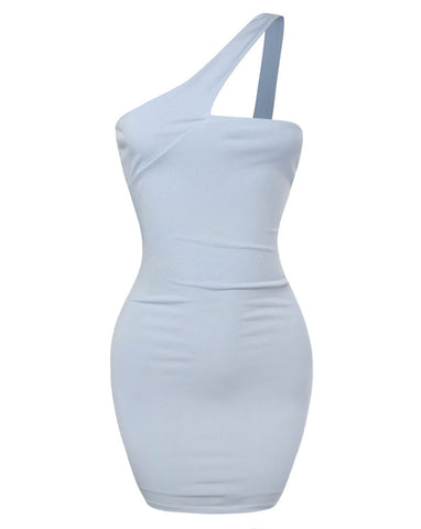In My Feelings One Shoulder  Dress - Light Blue