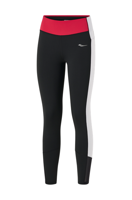 Women's Saucony Fortify 7/8 Tight (BKWH - black/white/red)