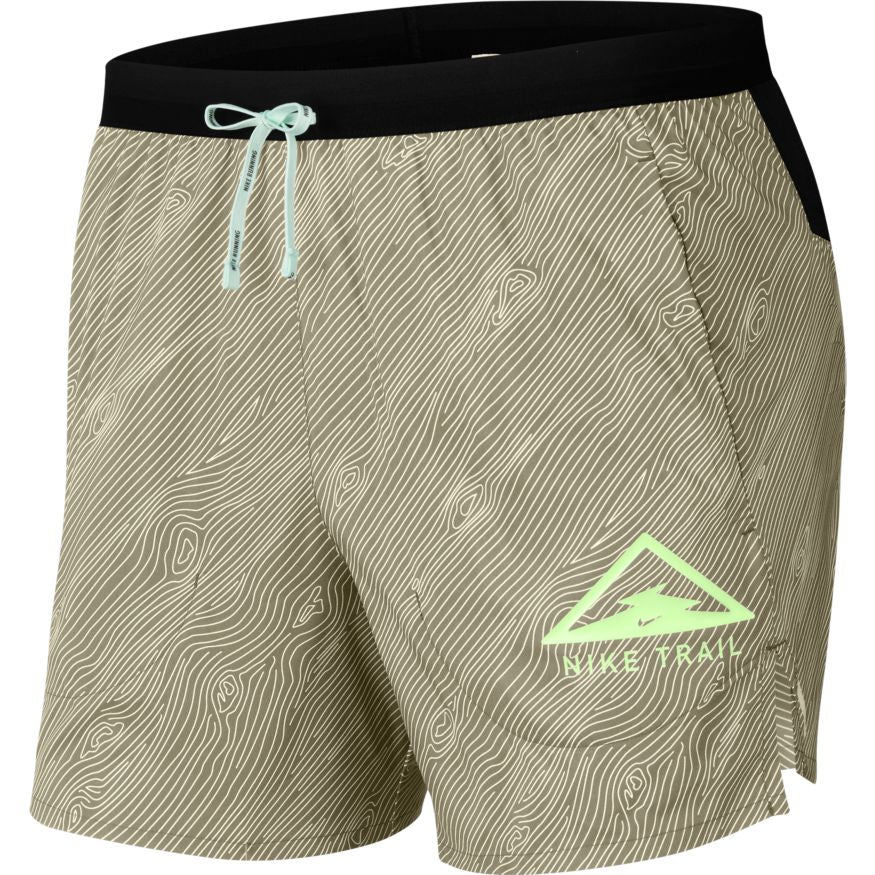 "Men's Flex Stride 5"" Trail Running Short (205 - Khaki/Black/Barely Volt)"