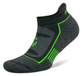 Blister Resist No Show Running Socks Charcoal/Lime Green