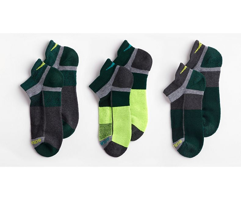 Saucony Inferno No Show Tab 3-Pack Socks (Green)