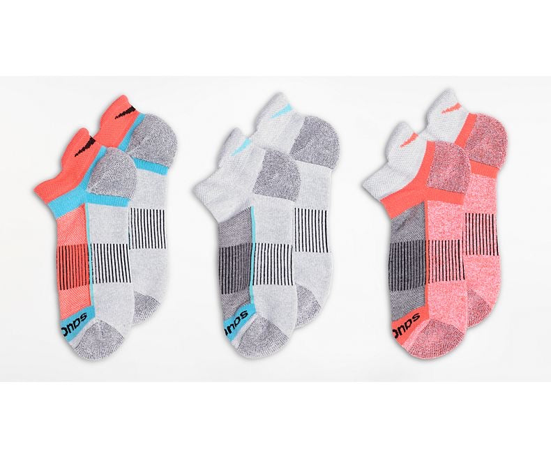 Saucony Inferno No Show Tab 3-Pack Socks (Grey Heather)