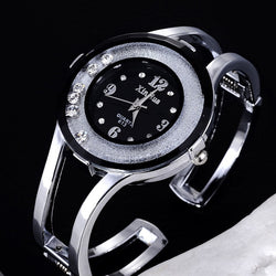 Women Stainless Steel Bracelet Watch - Silver & black
