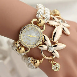 Gold Flower Quartz 2017 Bracelet Wrist Watch Female - 2017