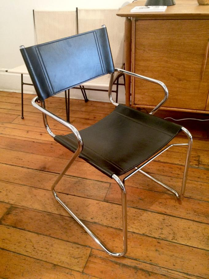 1980s Italian Chrome and Leather Dining Chairs