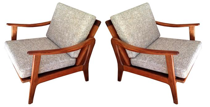 Pair of Italian Mid Century Lounge Chairs
