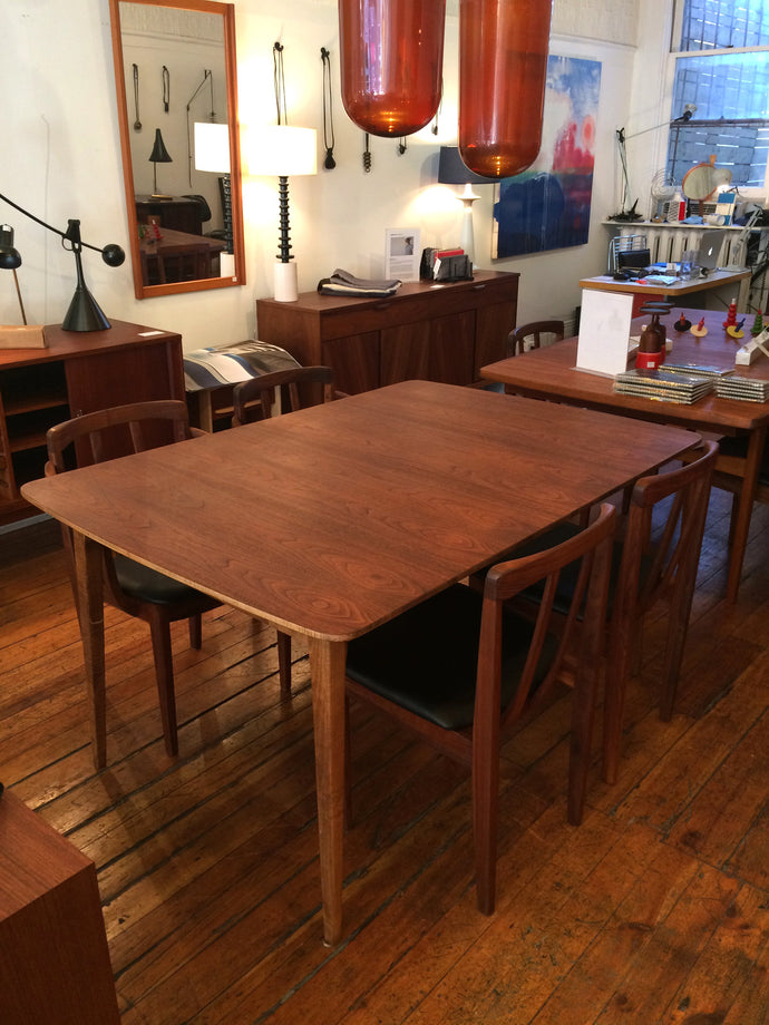 1960s Walnut Dining Table and Chairs
