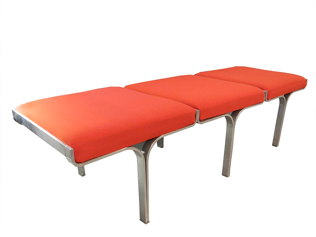 Steel and red bench