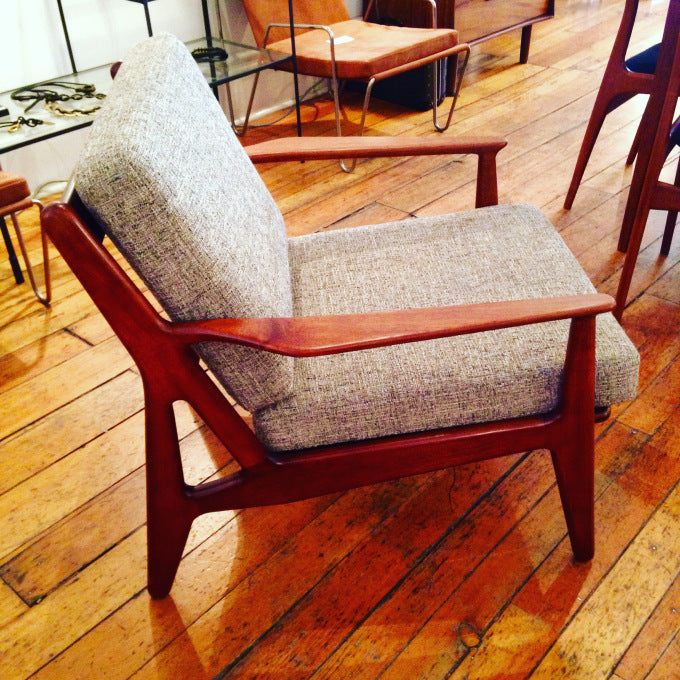 Teak Lounge Chair By Arne Vodder For Vamp Sønderborg. Excellent Condition,  New Upholstery. Denmark, 1960s. INQUIRE