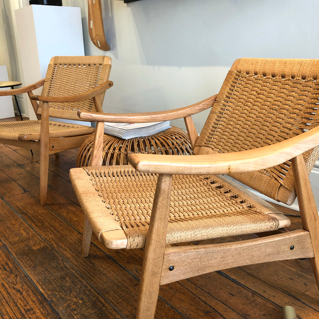 Hans Wegner Style Rope Lounge Chairs