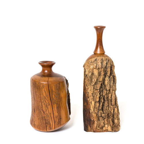 1970s Hand Carved Bud Vases