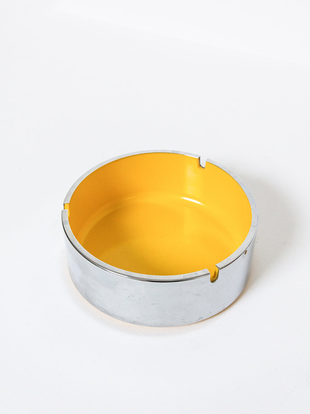 Yellow and Chrome Ashtray