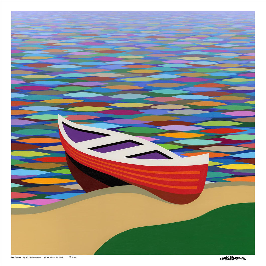 Red Canoe, Giclée Prints