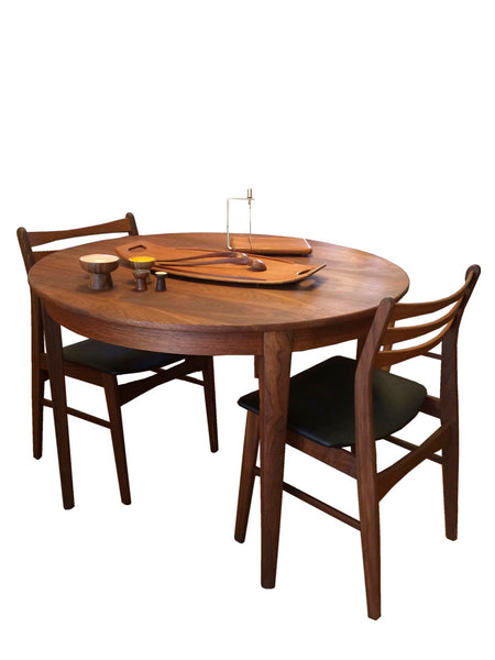 1960s Round Walnut Dining Table