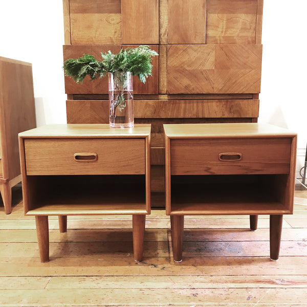 Pair of teak night tables