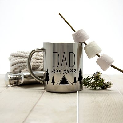 silver happy camper mug with dad personalised