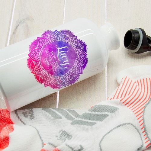 white waterbottle with motif to add personalisation with positive quote