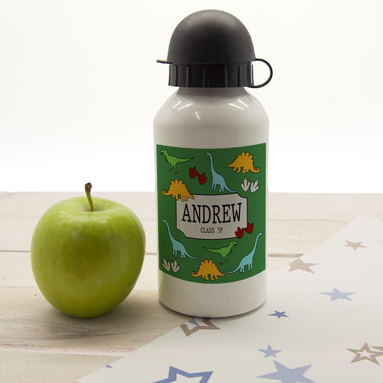 Kids personalised green dinosaur water bottle