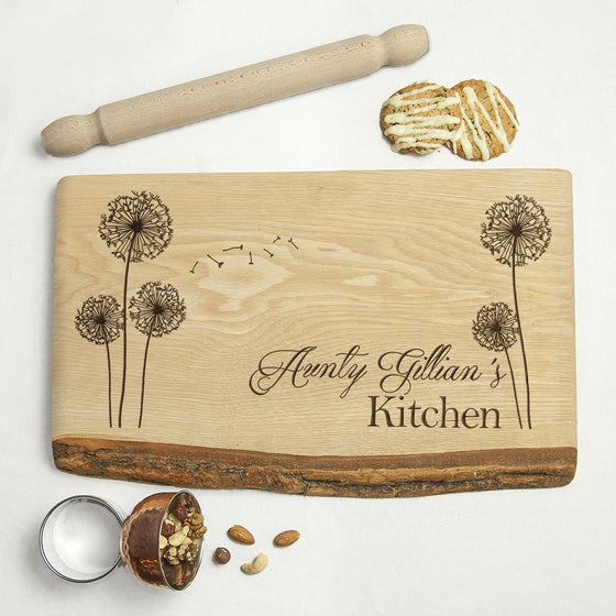 personalised rustic welsh ash serving board with aunty name