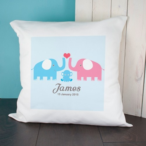 baby cushion with pink and blue elephant and babys name