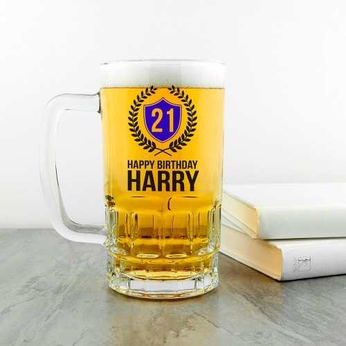 beer glass tankard with happy birthday message
