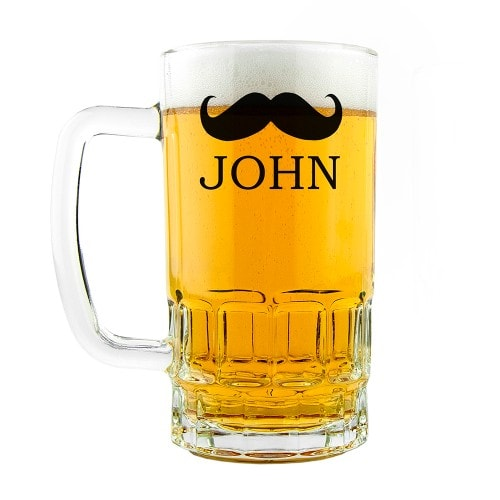 full glass beer tankard with moustache and name
