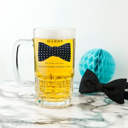 full glass beer tankard with bowtie groomsman name