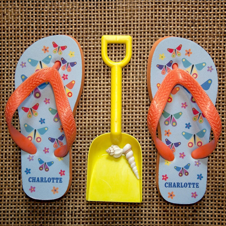 child's personalised flip flops with butterfly design