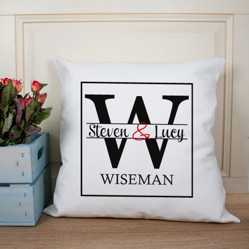 personalised couple cushion with initial and names