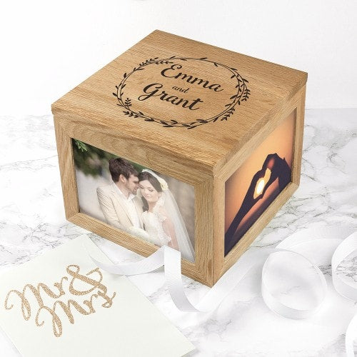 engraved wreath design wooden keepsake box for displaying photos