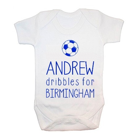 Customised babygrow with Andrew dribbles Birmingham