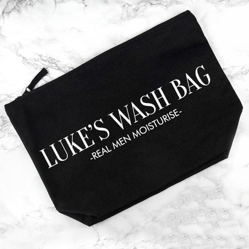 black cotton washbag with personalisation on the front