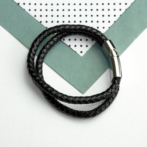 arial view of black dual leather bracelet with clasp