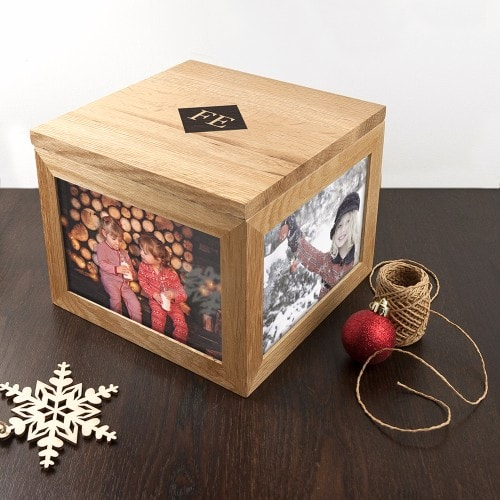 keepsake box with initials and christmas wrappings