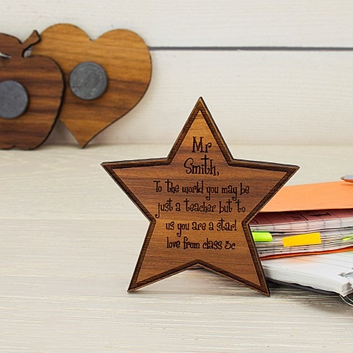 wooden star fridge magnet with message  to teacher on the front